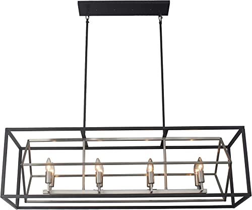 Titania 8-Light x 44″ Length Kitchen Island Fixture Black Metal Two Tones Linear Chandelier Open Cage Ideal