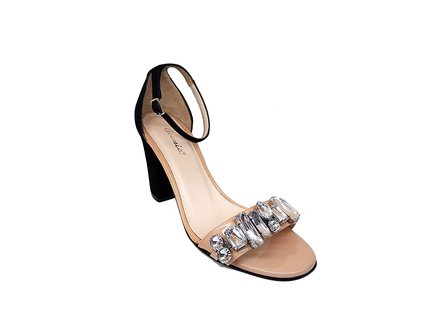GENNIA FAISOL Women Leather Sandals Open Toe with Block Heel and Adornment with Crystal Stones