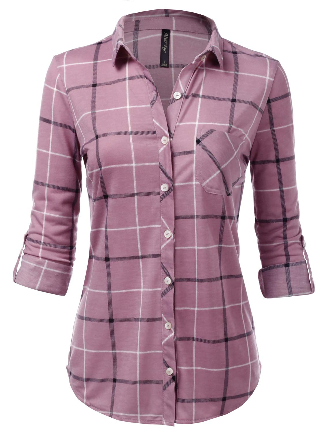 JJ Perfection Womens Long Sleeve Collared Button Down Plaid Flannel Shirt LAVENDERBLACK S