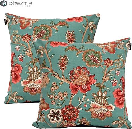 DHestia Pack x 2 Fundas Cojines Decoración Sofá y Cama 45x45 cm Diseño Floral (Flores 149), Multicolor, 45 x 45 cm: Amazon.es: Hogar