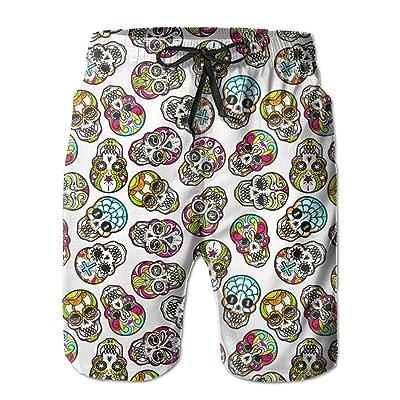 Usieis Colorful Mexican Sugar Skull Seamless Pattern Surfing Pocket Elastic Waist Men's Beach Pants Shorts Beach Shorts Swim Trunks