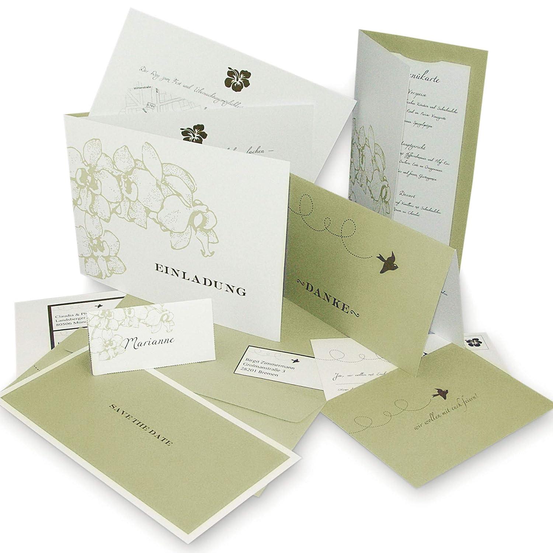 Hochzeit einladungskarten im setorchidee für 30 gäste alles inklusive einladungskarten tischkarten menükarten save the date karte diy