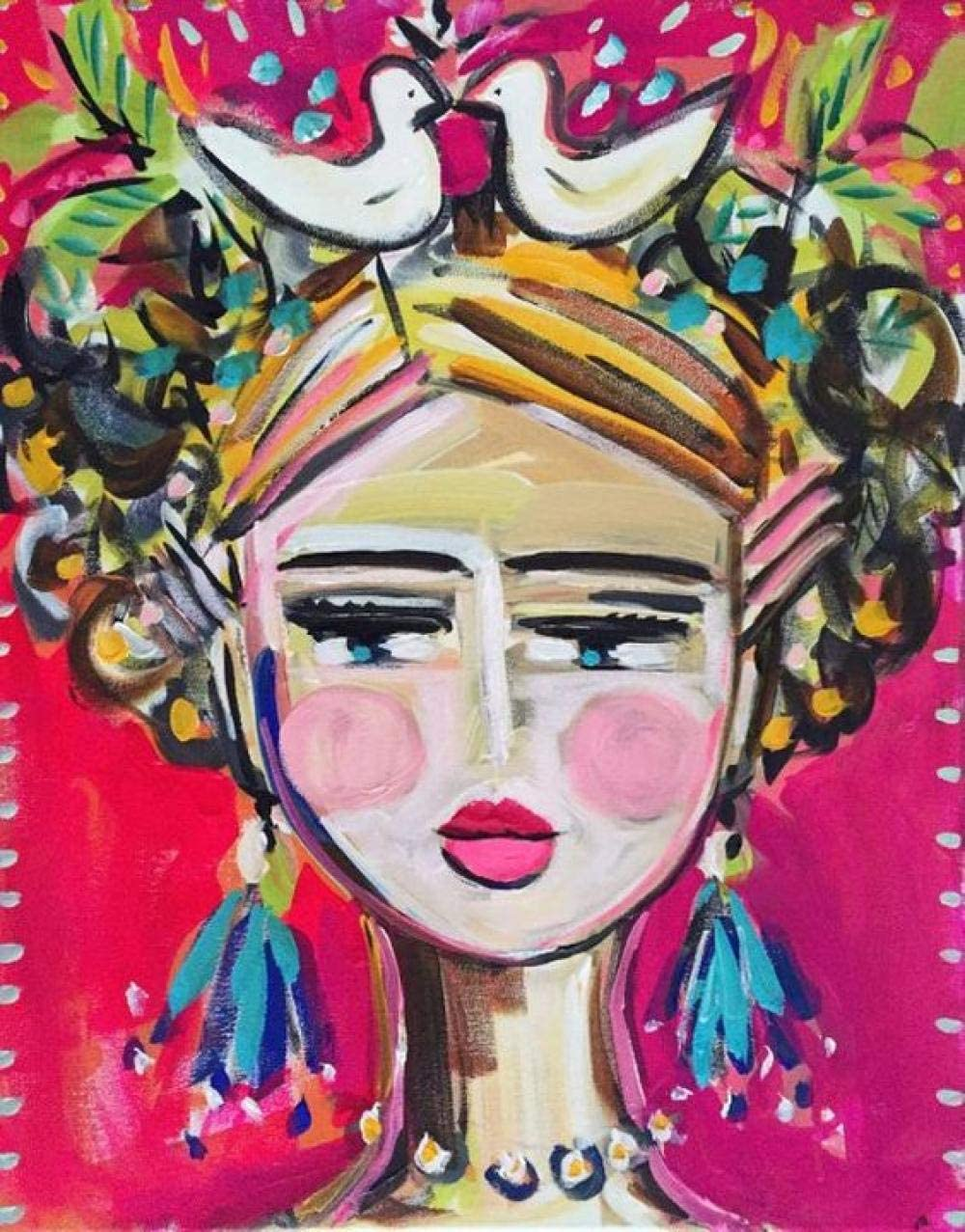 Bricolaje Pintar por kits de n/úmeros Regalo de Pintura al /óleo para Adultos Ni/ños Decoraci/ón Hogare/ña Mujer abstracta 16/×20 Sin Marco Regalo de Cumplea/ños