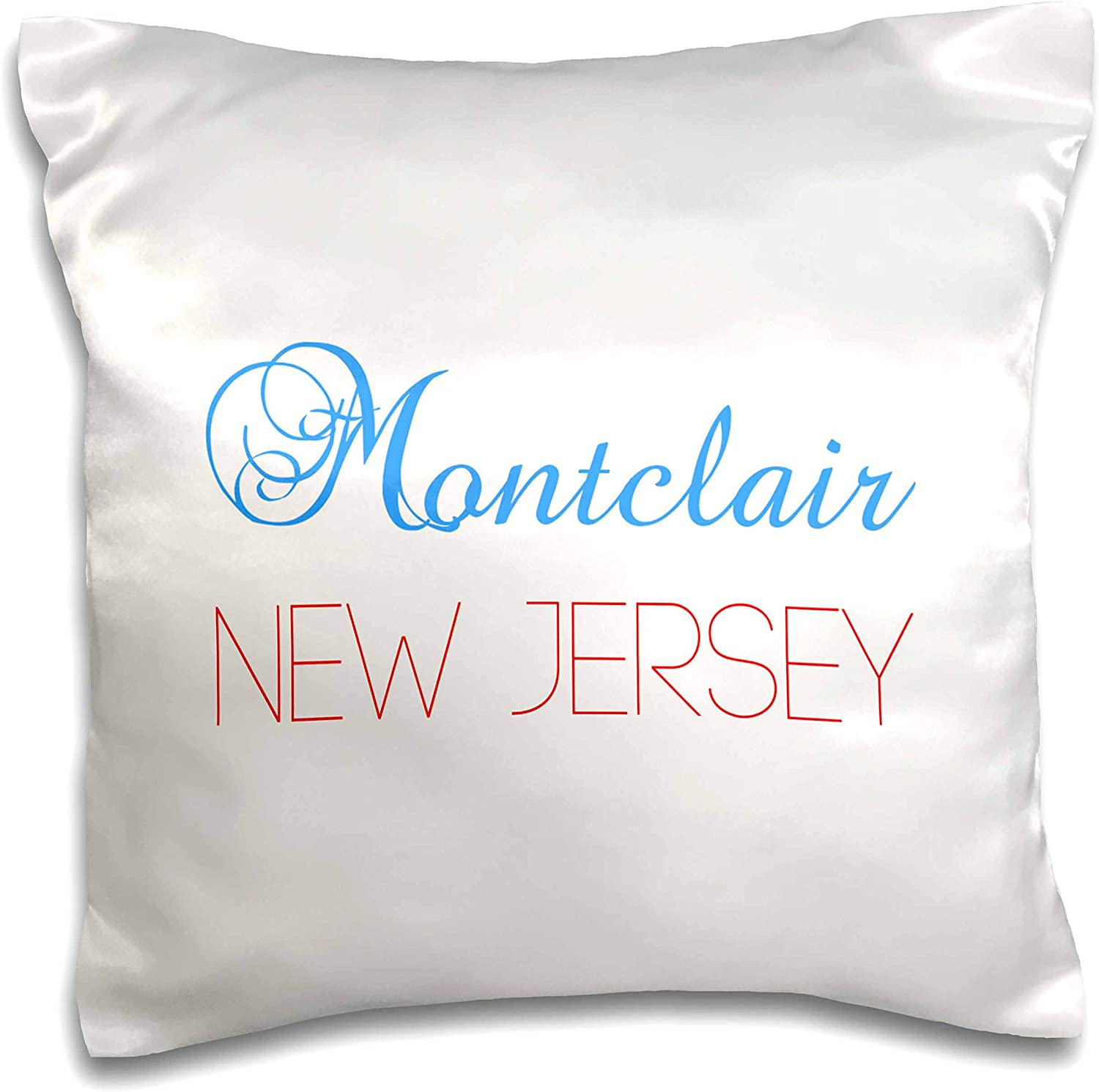 3dRose Alexis Design - American Cities New Jersey - Montclair, New Jersey, red, blue text. Patriotic home town design - 16x16 inch Pillow Case (pc_300866_1)
