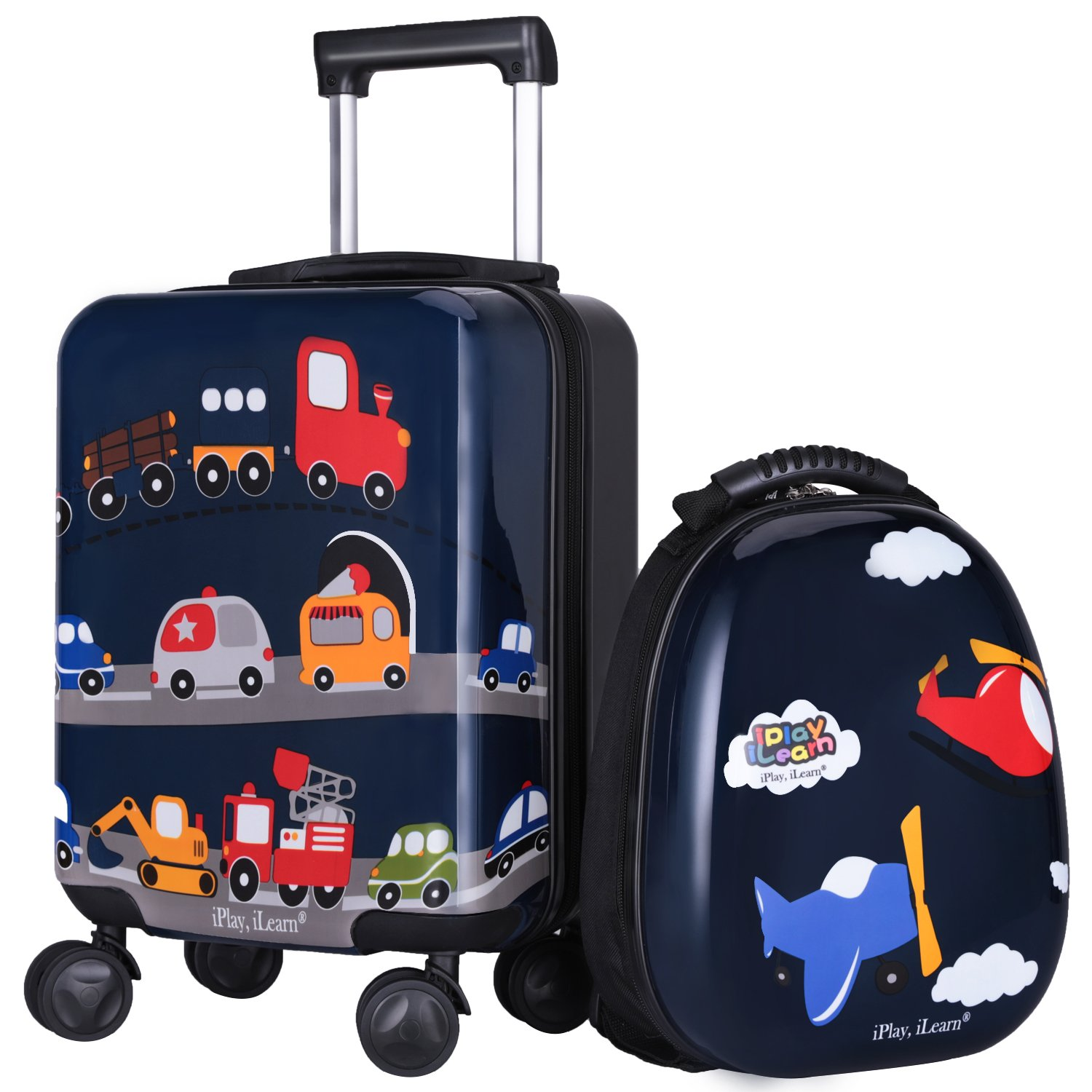 iPlay, iLearn Kids Luggage Set 18'' Carry on Suitcase, Lightweight Hard Shell Toddler Travel