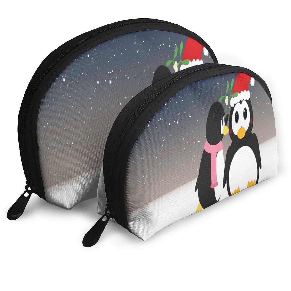 Pouch Zipper Toiletry Organizer Travel Makeup Clutch Bag Two Penguins Portable Storage Bags