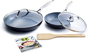 GreenPan CC002388-001 Valencia Pro Cookware Set Ceramic, 6pc, Grey