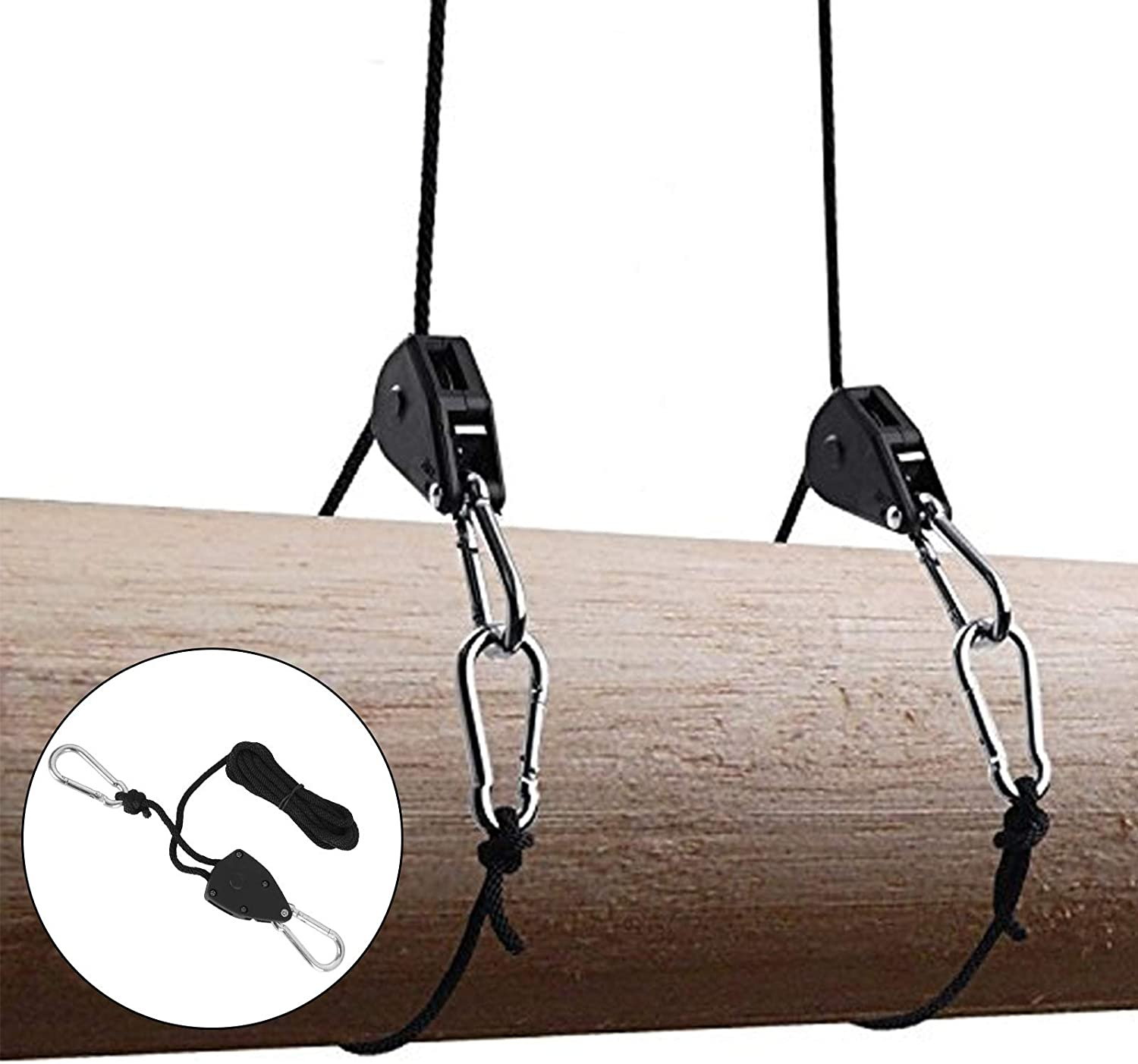 Weight Capacity 150 Lbs//Pair LANIAKEA 6Pcs Rope Ratchet 1//8 Adjustable Grow Light Rope Hanger 6.6 Ft M5 Carabiner Heavy Duty Rope Hanger Ratchet Tie Downs Straps for Kayak Canoe Bow Stern