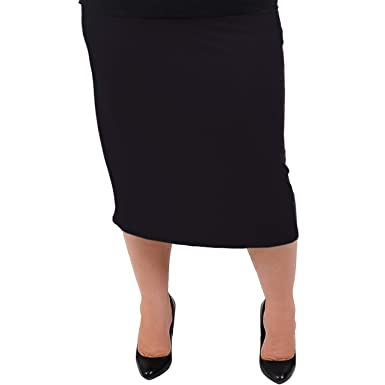 e220b4fbab Stretch is Comfort Women's Plus Size Comfortable Soft Stretch MIDI Skirt  Black Small