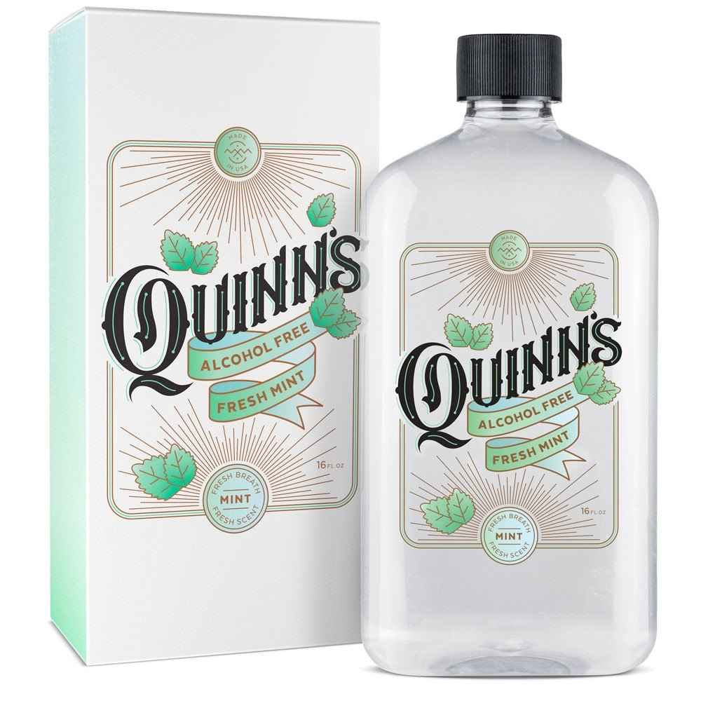 Quinn's Dentist Recommended Fresh Breath Mouthwash - Mild Mint Flavor, Oral Rinse 16 oz