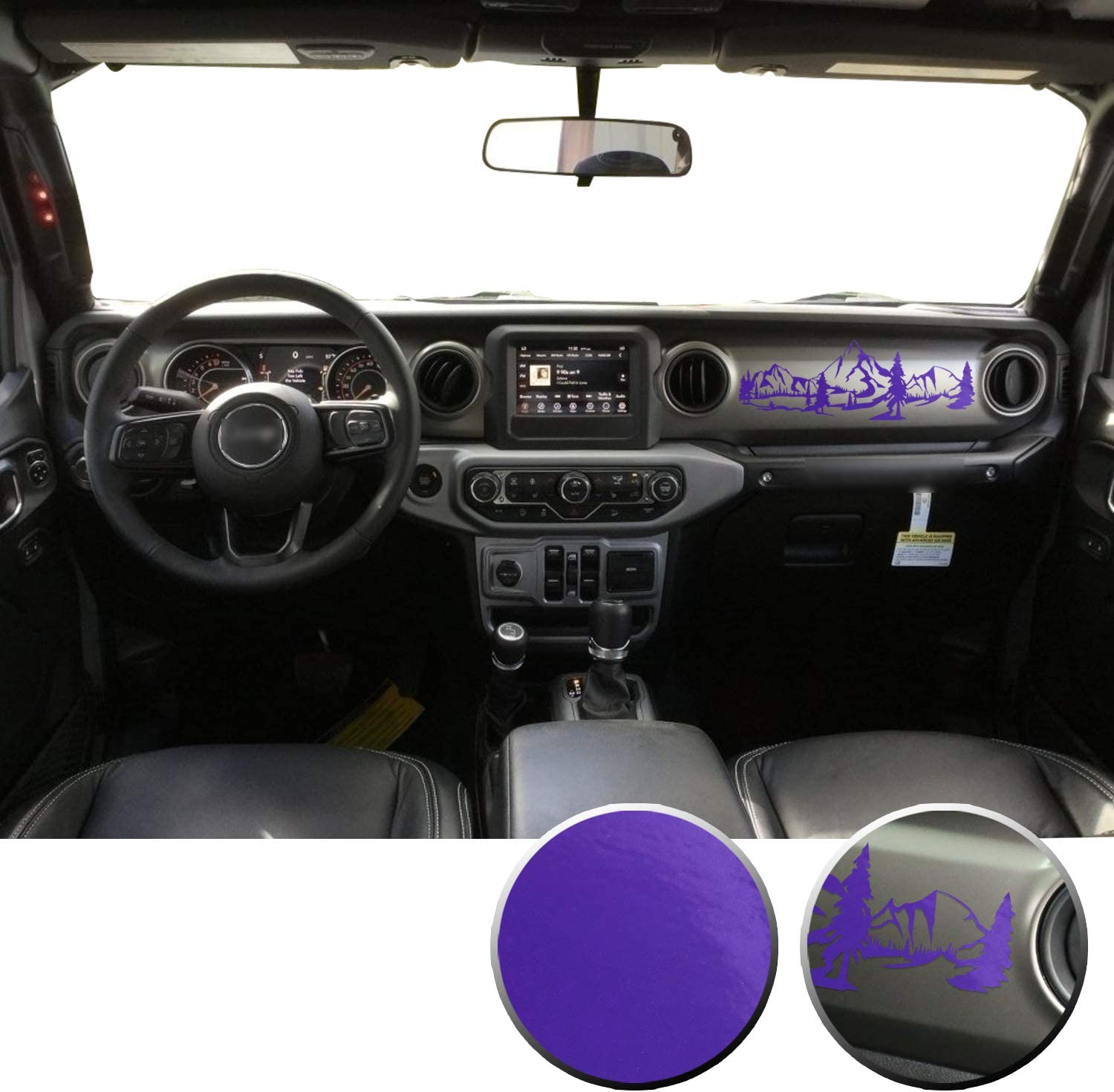 Optix Dashboard Interior Trim Mountain Vinyl Graphic Overlay Wrap Decal Compatible with Wrangler JL 2018 2019 2020 - Gloss Purple