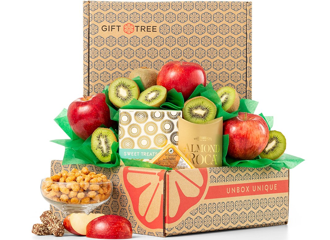 GiftTree Fresh Fruit Gift Basket | Gourmet Food With Fresh from the Orchard Pears, Crisp Apples, Juicy Premium Kiwis and Savory Snacks | Each Item is Individually Wrapped and Assembled by Hand