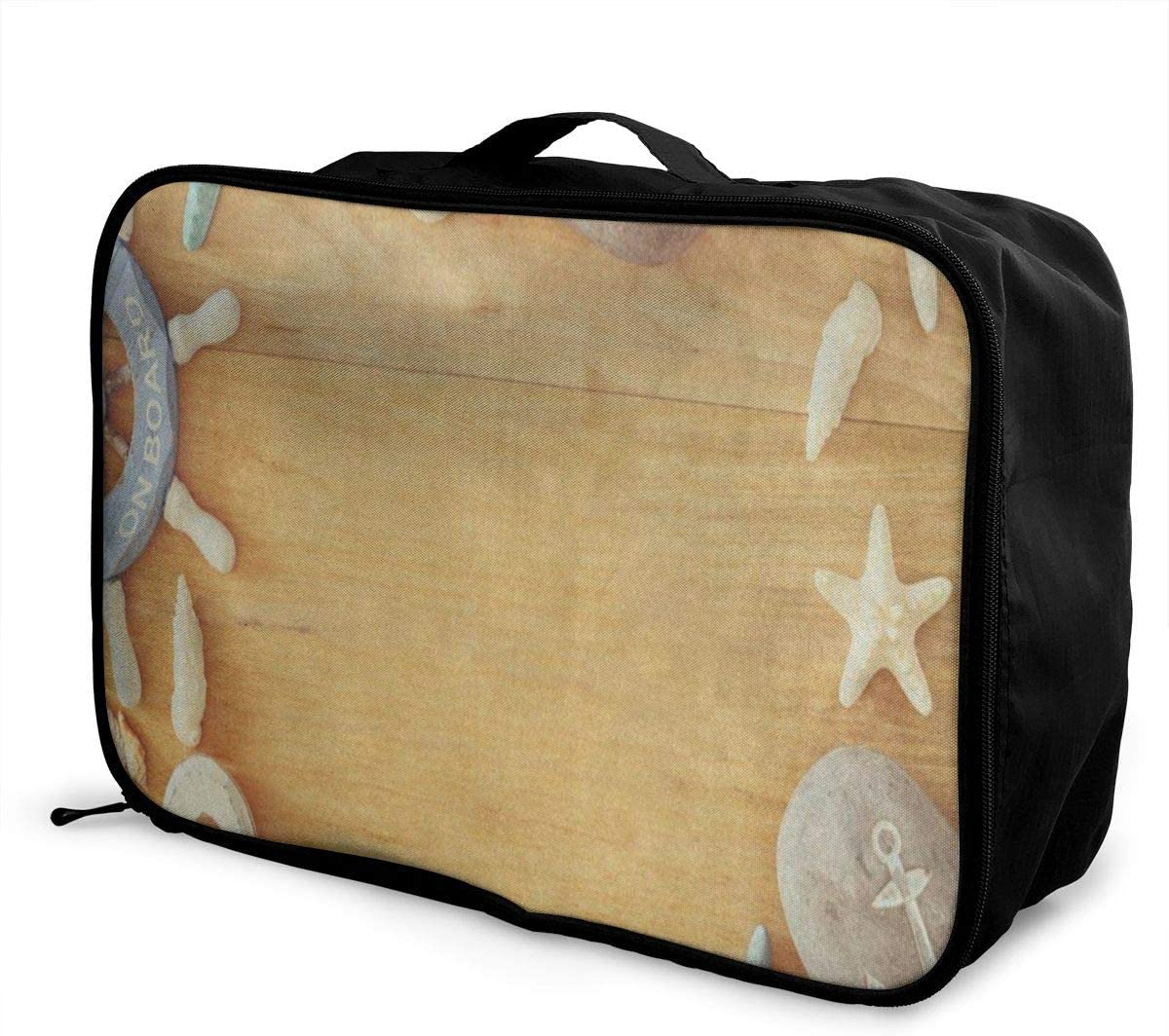 Travel Bags Nautical Beach Sand Starfish Wheel Shell Wooden Portable Foldable Special Trolley Handle Luggage Bag