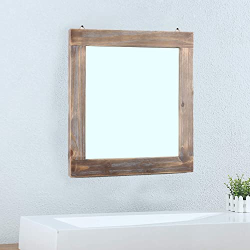 MBQQ Rustic Flat Wood Frame Hanging Wall Mirror Decorative Bathroom Mirror