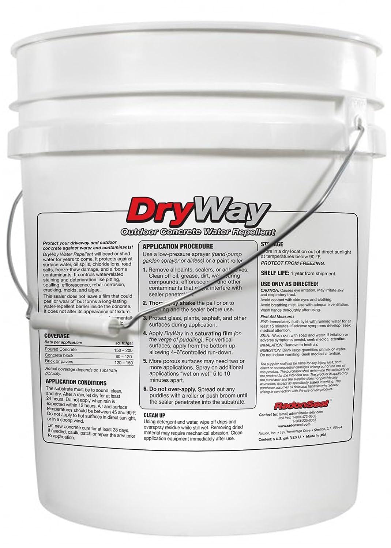 dryway impermeable sellador para hormigón (5-gal) | Protege hormigón caminos | pavimentación | suelos de garaje | Patios | exterior para mampostería: ...