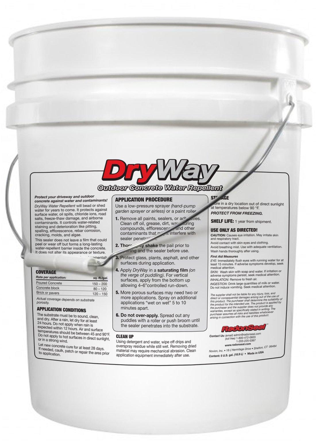 DryWay Water-Repellent Concrete Sealer | Penetrating Silane & Siloxane | Driveways, Garages, Patios, Pool Decks | Concrete, Brick & Pavers | Flat Finish | Interior/Exterior (5-Gallon)