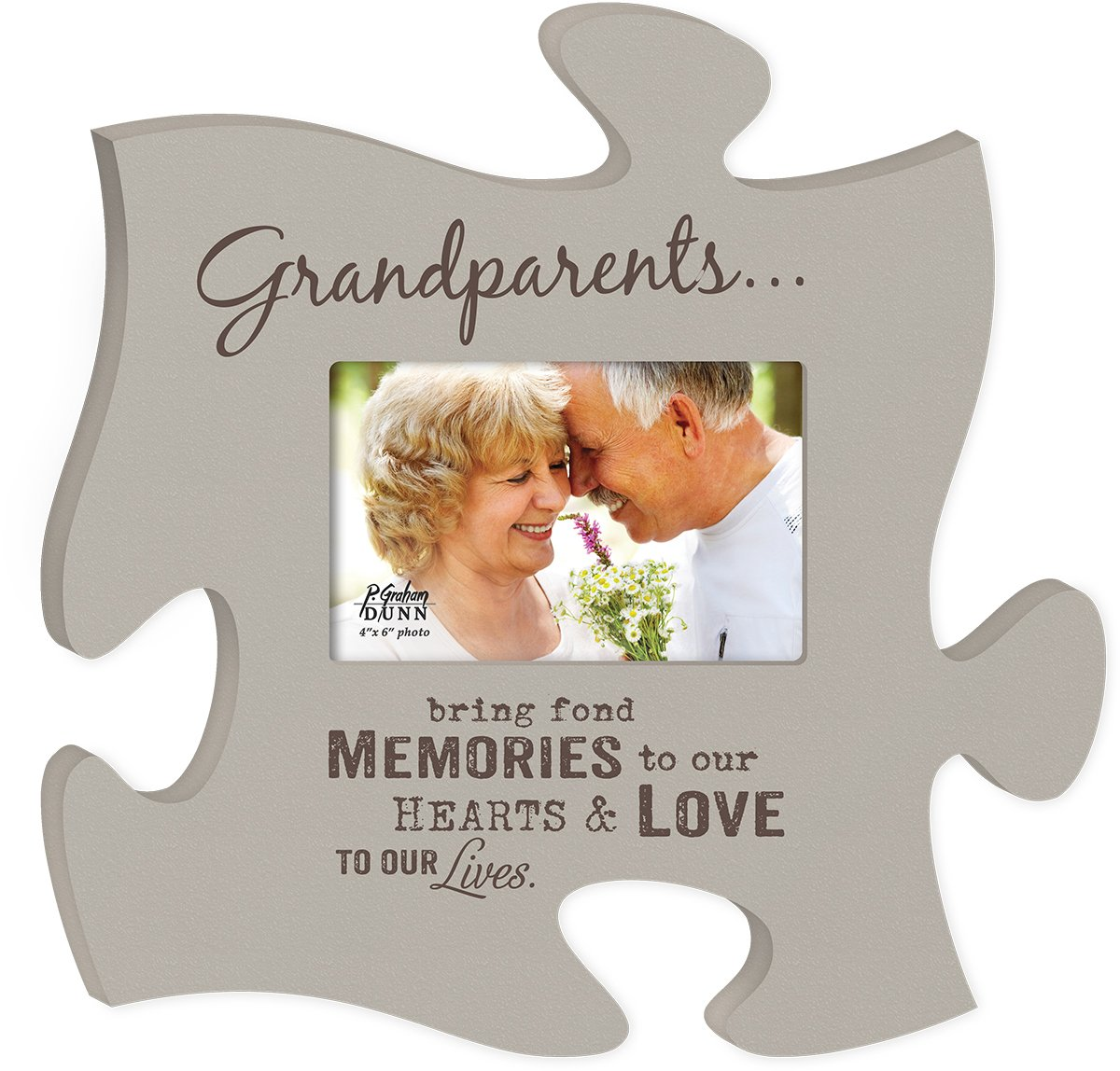 Grandparents Bring Fond Memories Grey 4x6 Photo Frame Inspirational Puzzle Piece Wall Art Plaque