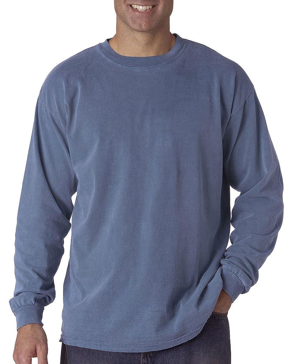 Comfort Colors Mens Ringspun Garment-Dyed Long-Sleeve T-Shirt Blue Jean S