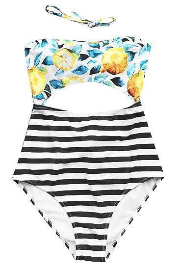 c1814ace86 Joy&Bella Lemon Printing Stripe Bottom High-Waisted One Piece Swimsuit  Bikini Set Padded Swimwear with