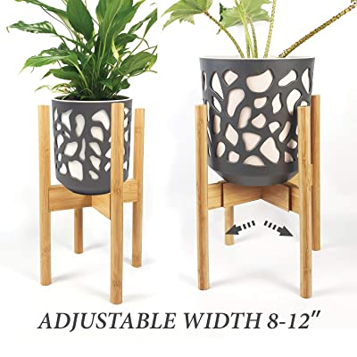S SIYOI Adjustable Plant Stand for House, Raised Pot Stand, Interior Plant Stands, Wooden Plant Holder, Natural Bamboo Houseplant Stand, Fits 8 9 10 11 12 Inches, Stands for Plants Indoor Outdoor : Garden & Outdoor