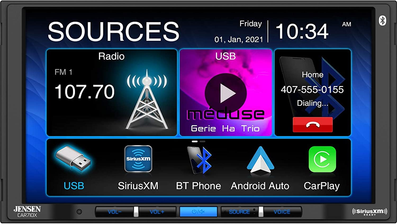 "Jensen CAR710X 7"" Mechless Multimedia Receiver with Apple CarPlay l Android Auto l SiriusXM-Ready l Built-in Bluetooth l 240 Watts MOSFET Power (60W x 4)"
