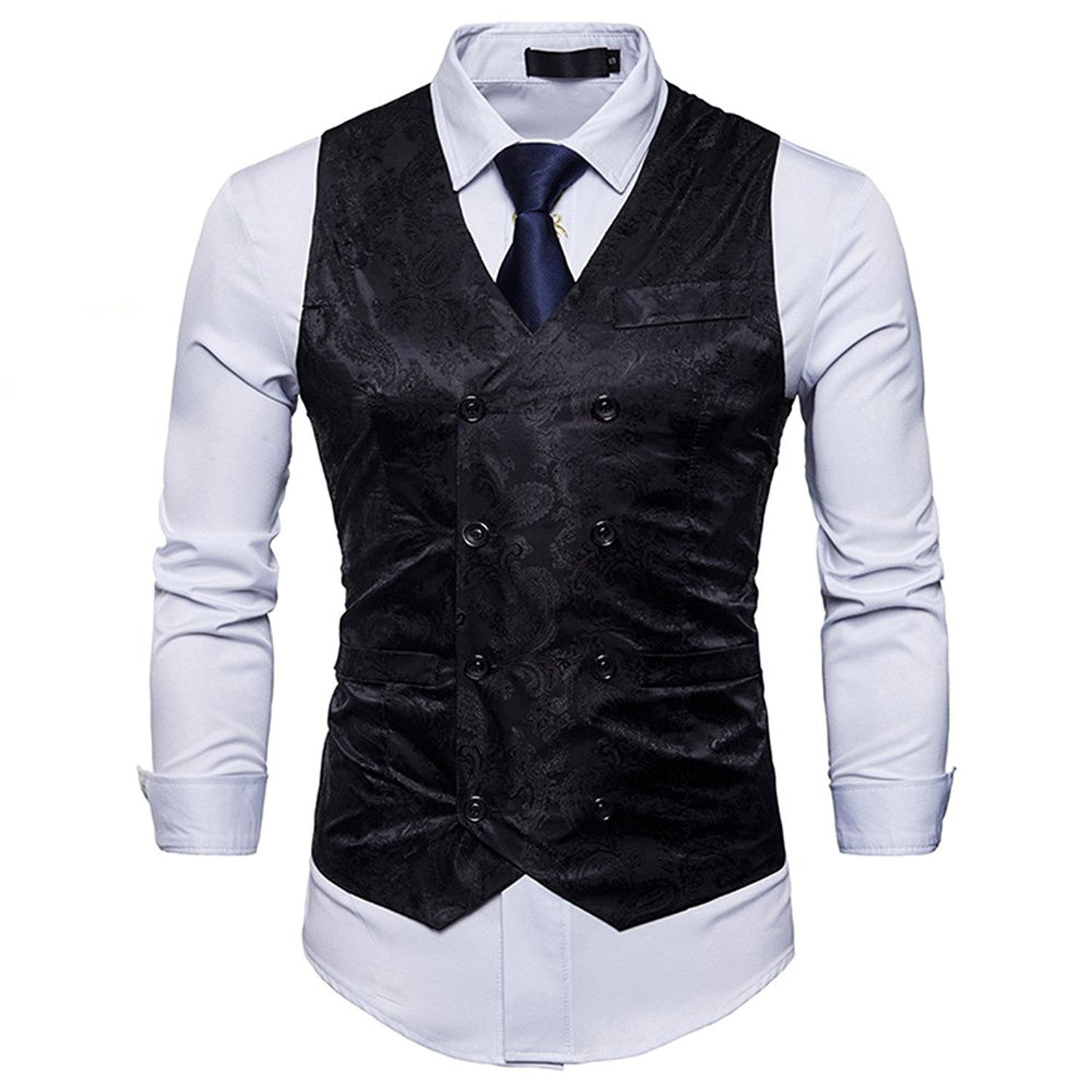 MAGE MALE Men's Vest Classic Fashion Double Breasted Waistcoat for Slim Fit Suit Or Tuxedo by MAGE MALE