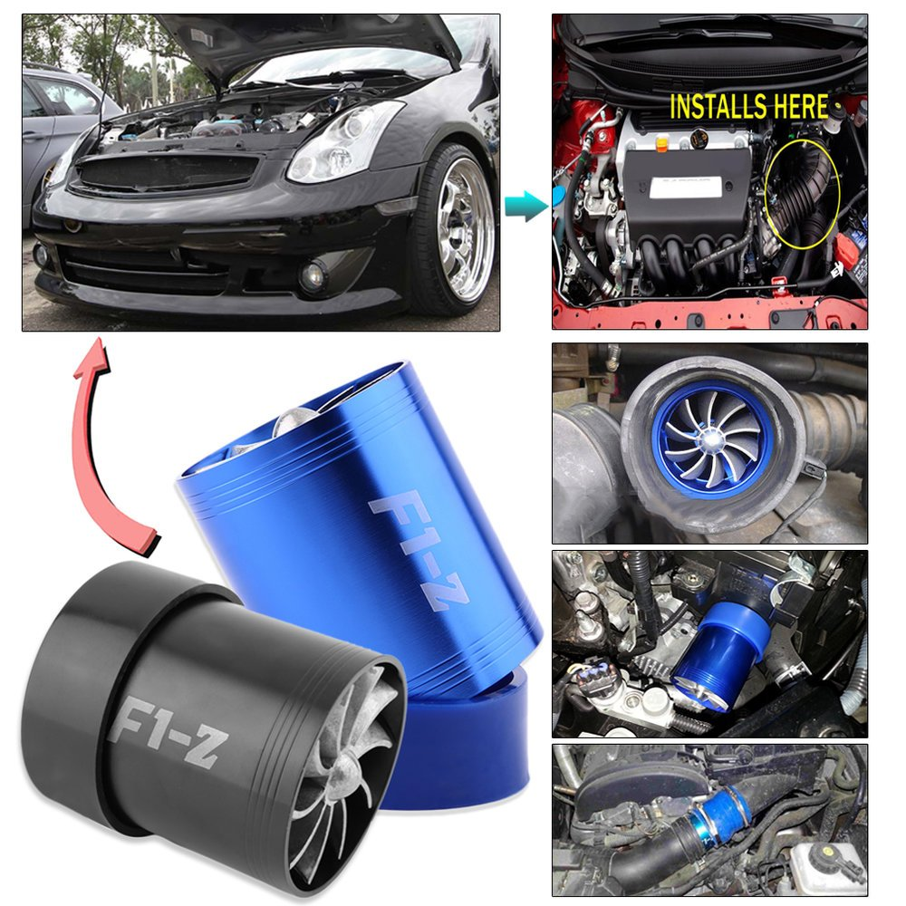 New Super Charger Double Turbonator Air Intake Fuel Saver Turbo Charger Fan(Color blue) Dailyinshop