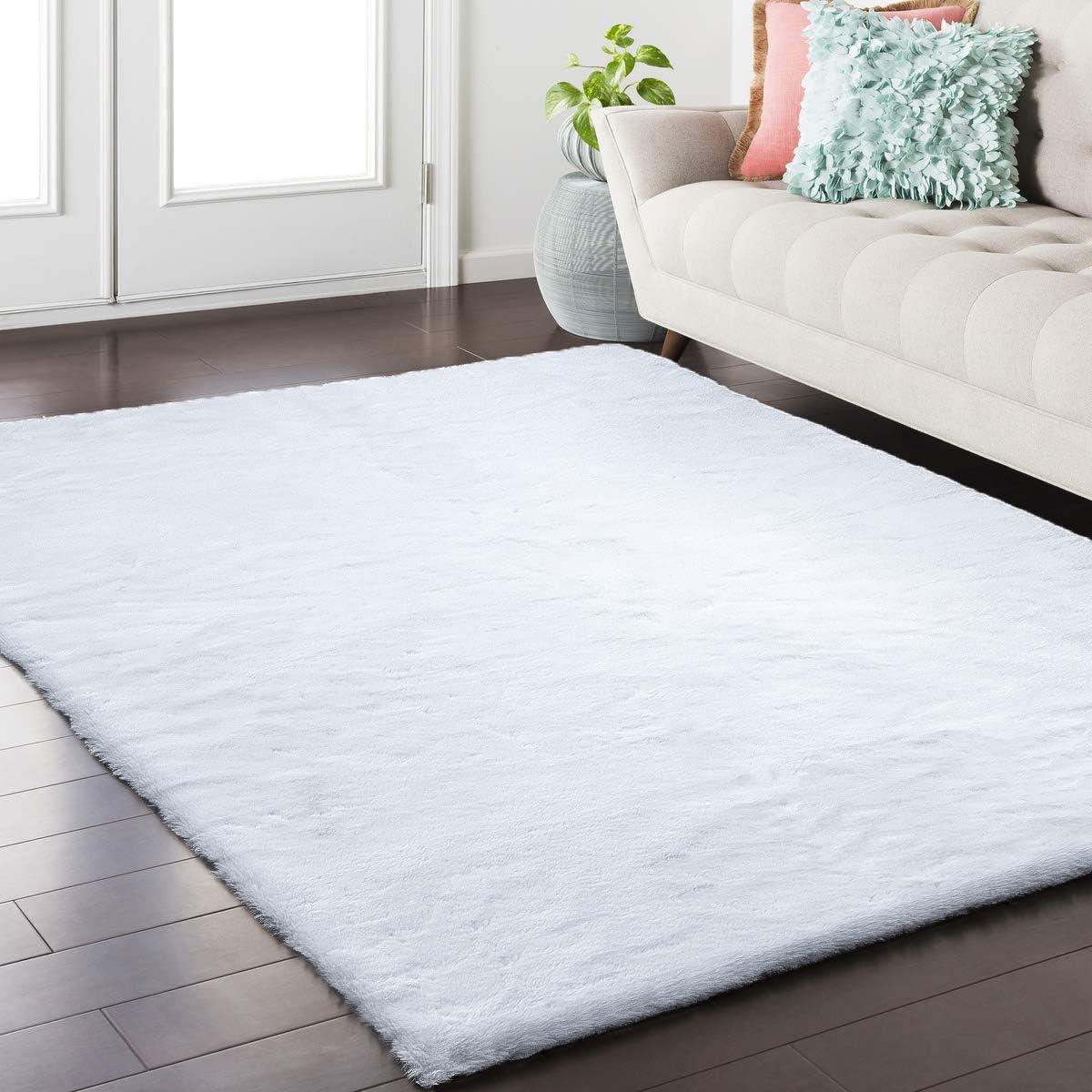 Softlife Fluffy Faux Fur Rug 4 x 6 Soft Area Rugs for Bedroom Girls Room Living Room Home Decor Floor Carpets, White Rectangle