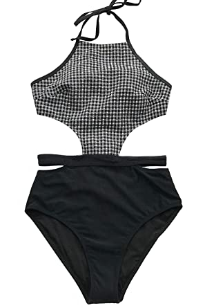ff0db208525d1 CUPSHE Women s Black and White Neck Halter Cutout Gingham One-Piece Swimsuit  Small