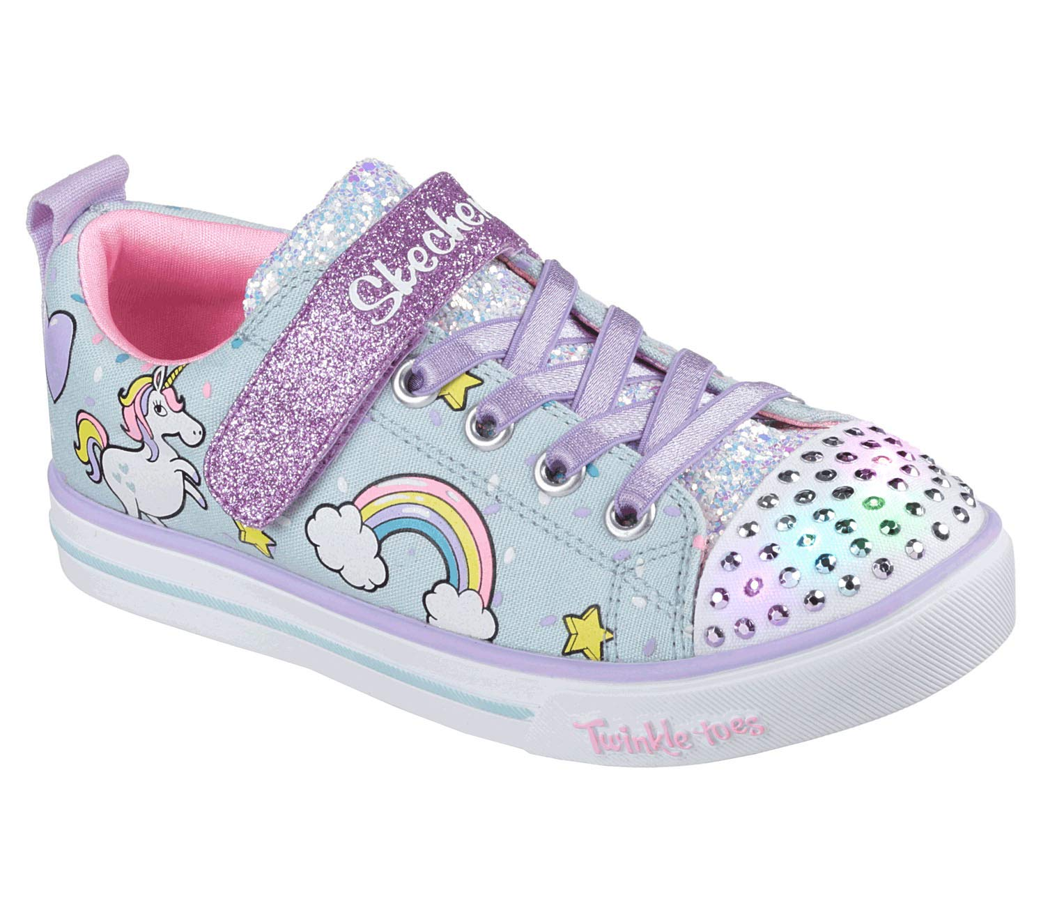 Skechers Kids Girls' Sparkle LITE Unicorn Craze Sneaker, Light BlueMulti, 3 Medium US Little Kid