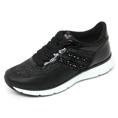 B9360 sneaker donna HOGAN CLUB H254 TRADITIONAL scarpa H ricamo nero shoe woman