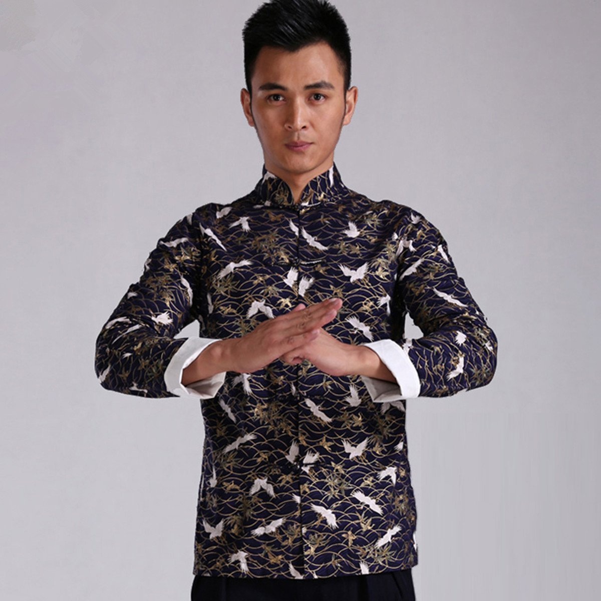 WEISAN Men Chinese Retro Crane Pattern Stand Collar Cotton Kung Fu Costume Jacket by WEISAN (Image #3)