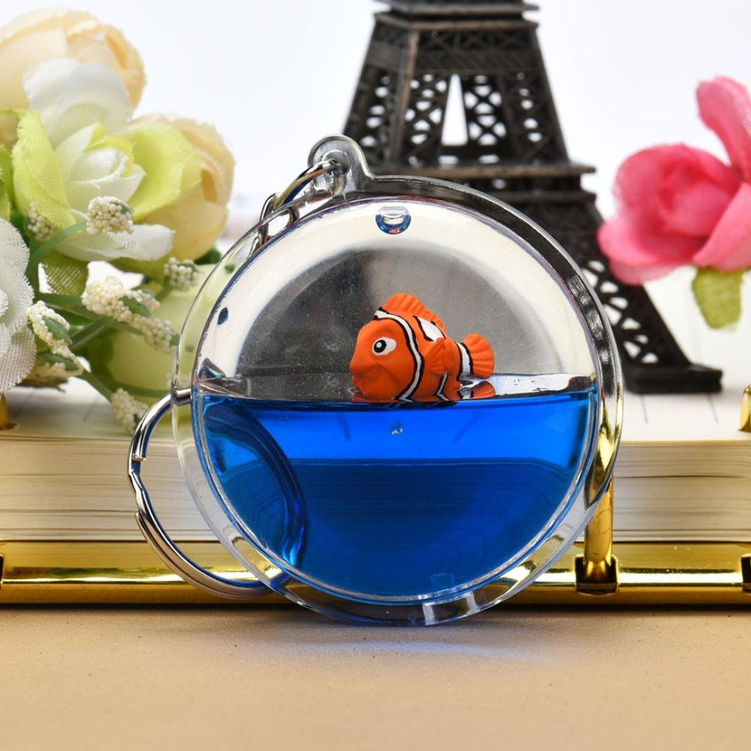 Fish in Moving Liquid Keychain, SUPPION Mini Filled Bottle Round Keychain (Fish) by Suppion (Image #2)