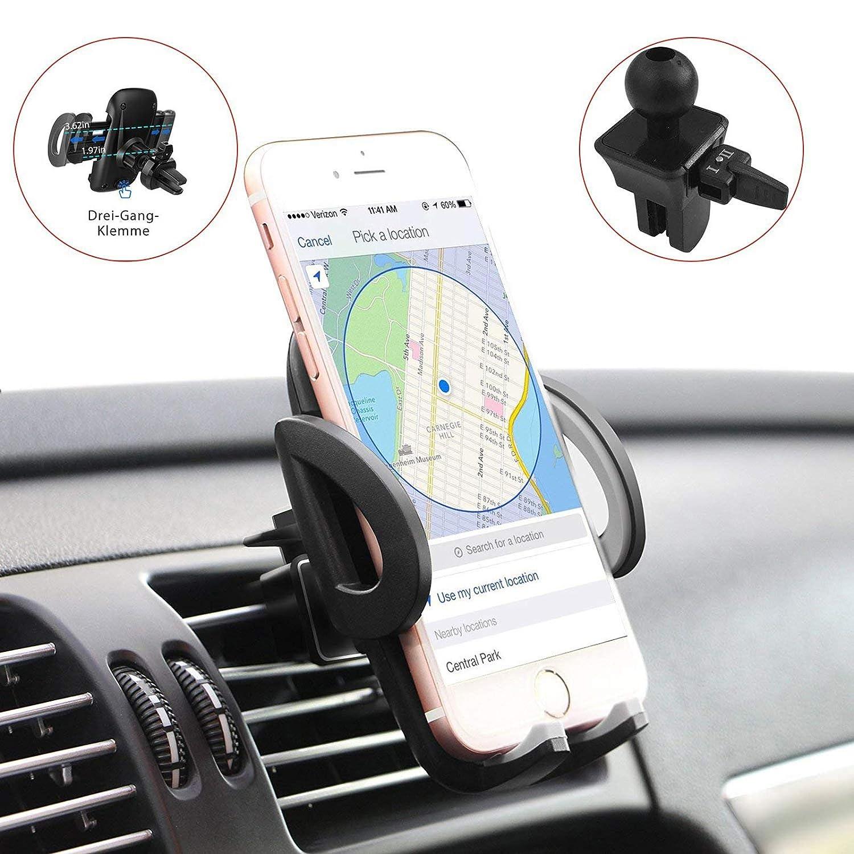 MAISAO Handyhalterung Auto Lü ftung,Universale Autohalterung Phone Halter /360 Grad Flexibler Drehung/Verstellbare Seitengriff/Anti-Rutsch Material, Kompatibel fü r iPhone8/7/6 Samsung und mehr sdfgsDGH