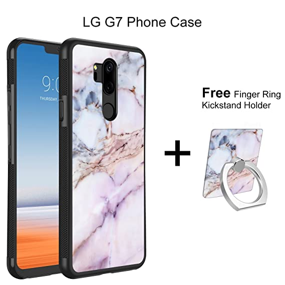 LG G7 Marble Pink Case, LG G7 ThinQ Case Marble, Heavy Duty Drop Protection  Hybrid Defender Shockproof Skid-proof Protective Case Cover with Finger