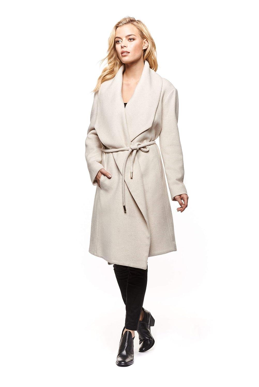 DEX Black Tape Shawl Collar Wrap Coat