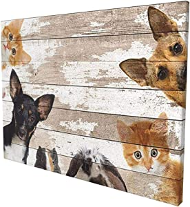 MSGUIDE Cute Animals Wall Decor Dog Cat Mouse Rabbit Hamster Picture Painting Print Framed Canvas Prints Artwork Wall Art for Bathroom Bedroom Kitchen Rustic Home Decor 16x12 Inch