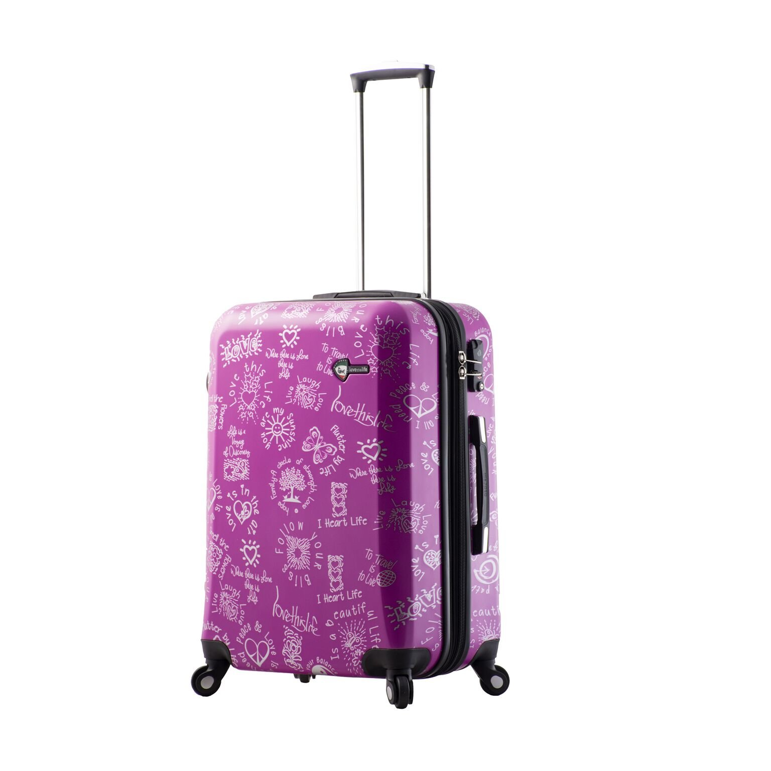 Mia Toro M1089-24in-Pur Love This Life-Medallions Hardside 24 Inch Spinner, Purple