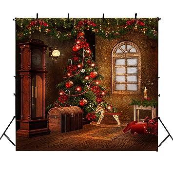 árbol De Navidad Mehofoto Telón De Fondo 8x8ft Vintage Madera