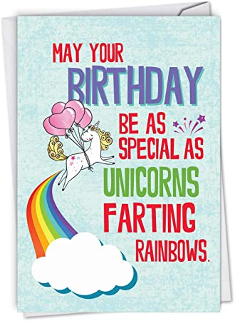 Amazon Com Nobleworks Funny Happy Birthday Card With Envelope Colorful Humor Card Greeting Note Unicorns And Rainbows C6892bdg Office Products