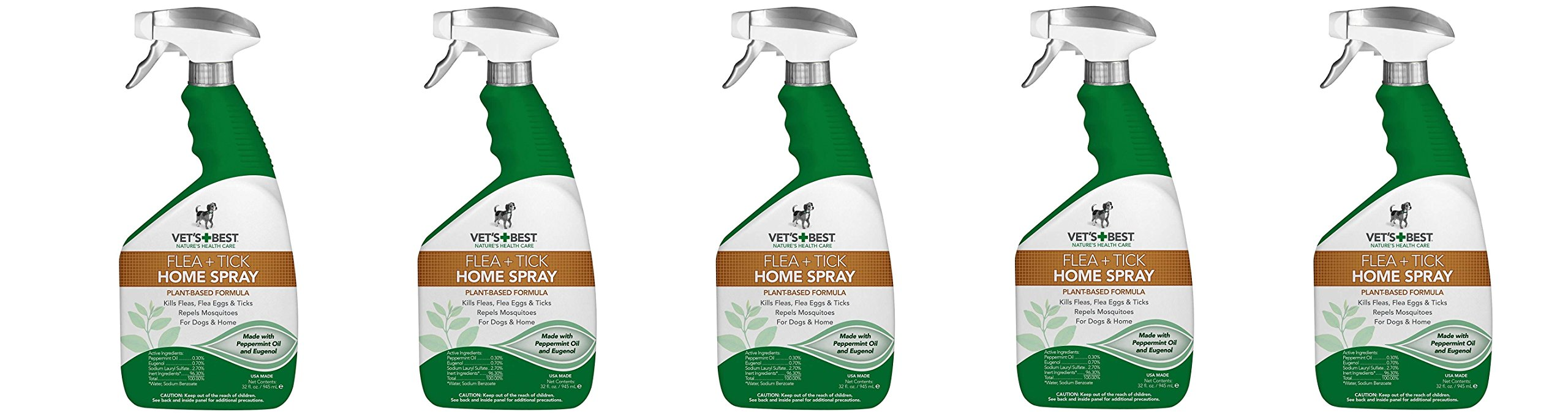 Vets Best ytCxnD Natural Flea and Tick Home Spray, USA Made, 32 oz (5 Pack)