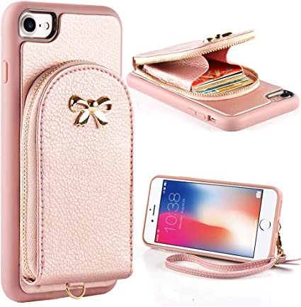 Leather Wallet Case with Credit Card Holder Slot Zipper Wallet Pocket Purse Handbag Wrist Strap Protective Cover for Apple iPhone 8//7 ZVE Case for Apple iPhone 8 and iPhone 7 4.7 inch Rose