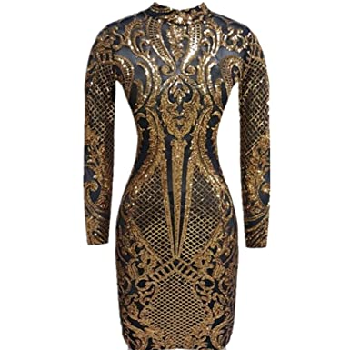 0186efeccf V-FANCY Women s Sexy See Through Tatoo Gothic Sequin Club Dress at ...