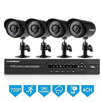 FLOUREON - überwachungkameras Juego 4 CH 1080 N CCTV AHD DVR Recoder + 4 x 1500tvl 720P Vigilancia Impermeable Cámara De Seguridad P2P Detector de ...