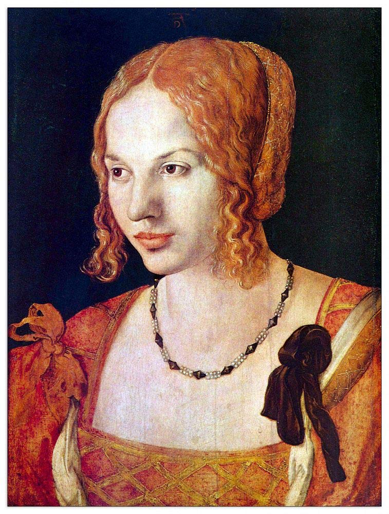 ArtPlaza TW93207 Albrecht Durer - Portrait of a Venetian Decorative Panel 27.5x35.5 Inch Multicolored