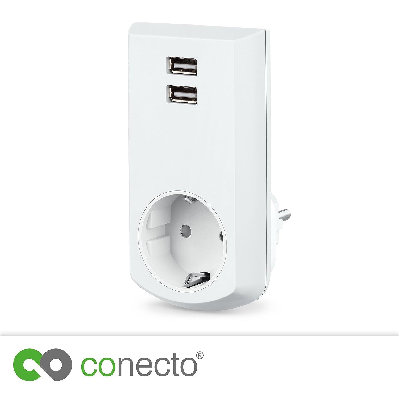 conecto cc50248 Protecció n de contacto (Schuko) –  Enchufe con 2 puertos USB (2,1 A/5 V), color blanco 1A/5V)