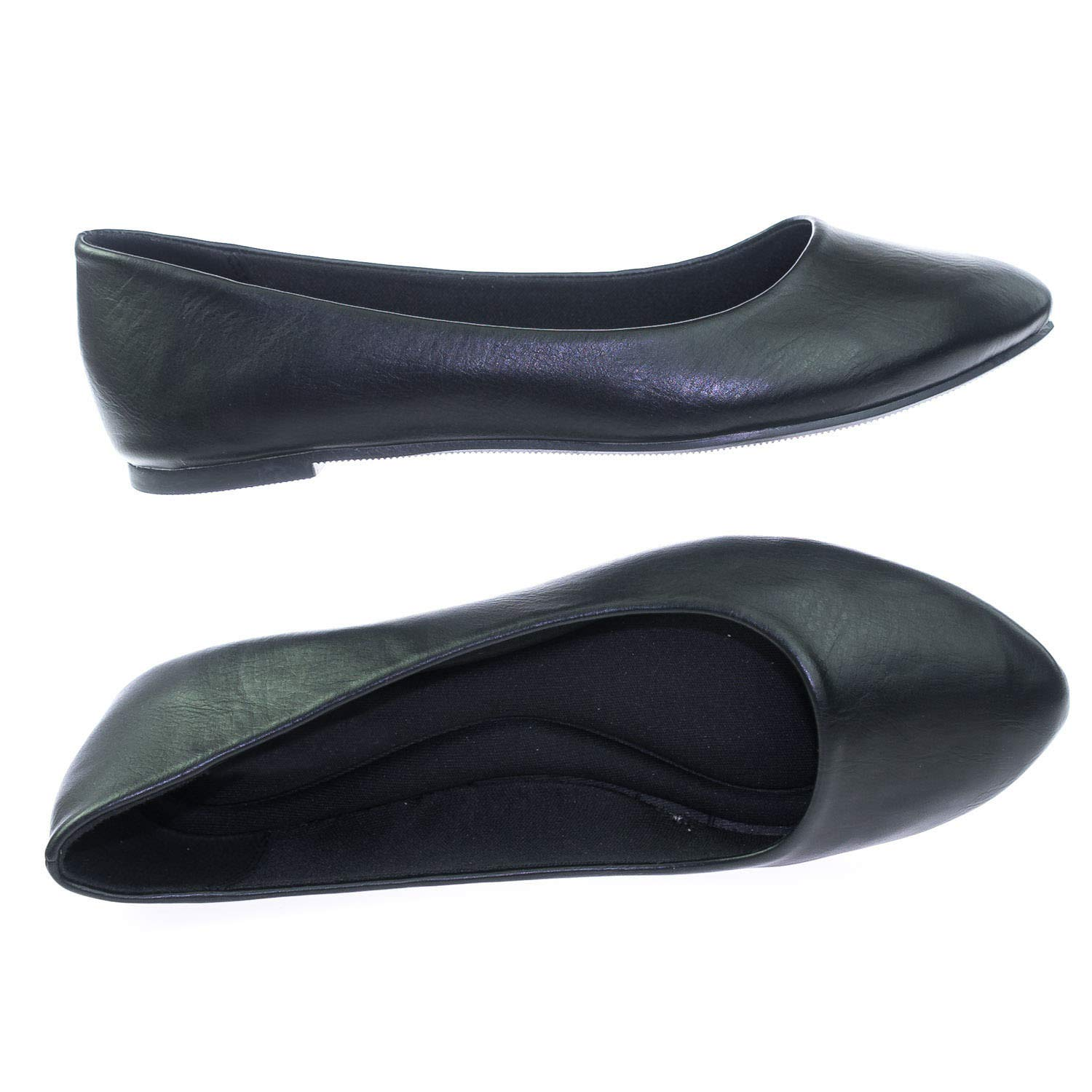 SODA Womens Almond Toe Ballet Flats w Comfortable Padded Insole