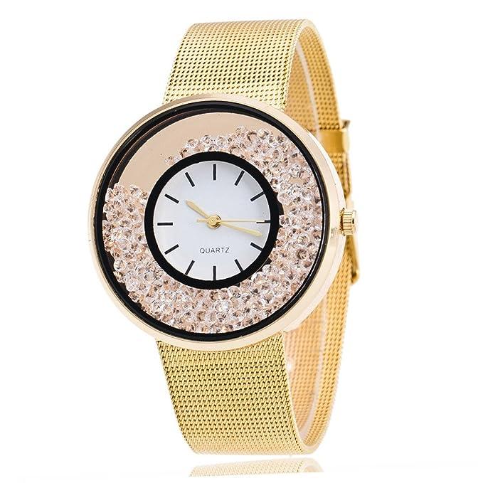 ZODOF Reloj de Pulsera de Cuarzo de Las Mujeres de Moda Reloj de Pulsera de Las Mujeres Blancas Rhinestone de Acero Inoxidable: Amazon.es: Ropa y accesorios