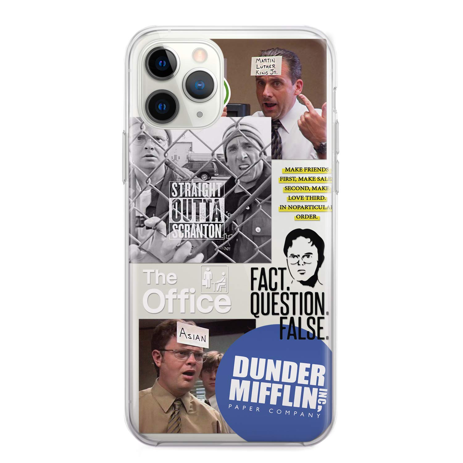 Dunder Mifflin Phone Case Merchandise for iPhone 10 X R X Xr 11 Pro Xs Max SE 2020 8 7 6s 6 Plus Cover Fact False Dwight Schrute The Office Farms Beets Tv Show Gifts Michael Scott mug Cell Clear Cover