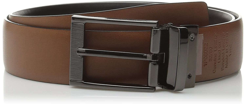 Perry Ellis mens Portfolio Feather Edge Etched Buckle Soft Touch Belt Belt